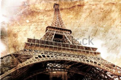Poster Abstrakte digitale Kunst des Eiffelturms in Paris, Gold. Altes Papier. Postkarte, hohe Auflösung, bedruckbar auf Leinwand