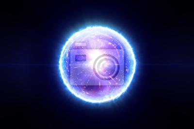 Poster Abstrakte magische Kugel mit Molekülen der Verbindungen 3d Illustration
