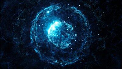 Poster Abstrakte Teilchen Hintergrund mit Kugel Formen, die stark durch Lärm Verschiebung Kraft deformiert wurden
