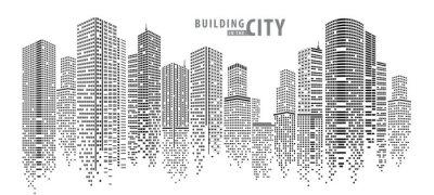 Poster Abstrakter Stadtvektor, transparente Stadtlandschaft, Punkte, die in der Nacht Stadt errichten