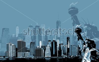 Poster Abstraktes Bild von Manhattan. Symbole von New York. Manhattan-Skyline und die Freiheitsstatue NYC. Zeitgenössische Kunst und Plakatstil in Blau
