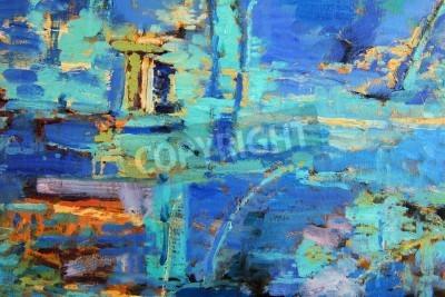 Poster Abstraktes Ölgemälde mit vorherrschenden Blues