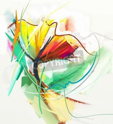 Poster Abstraktes Ölgemälde von Frühlingsblumen. Stilleben von gelber und roter Farbe fließen. Abstrakt Moderner Impressionist. Blumen-Kunst-Malerei. Blumendekorative Malerei