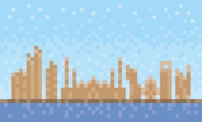 Abu Dhabi city skyline, pixel art background