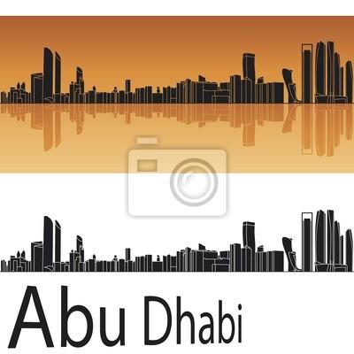 Abu Dhabi Skyline in orangefarbenen Hintergrund
