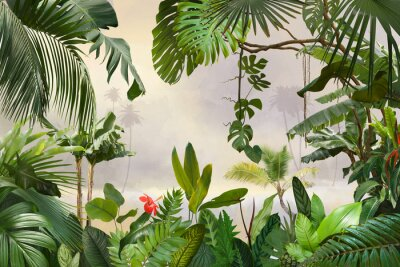 Poster adorable background design with tropical palm and banana leaves, can be used as background, wallpaper