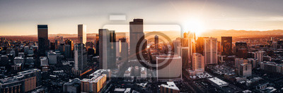 Poster Aerial drone photo - City of Denver Colorado at sunset
