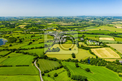 Poster Aerial drone view of green fields and farmland in rural Wales