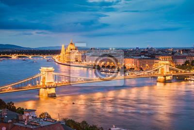 Aerial night skyline of Budapest, Hungary