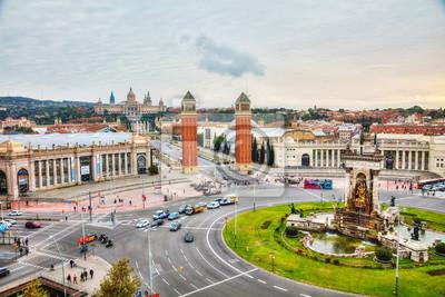 Aerial overview on Plaza Espanya