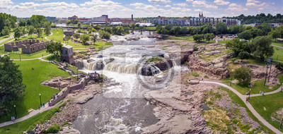Poster Aerial panorama of the falls in Sioux Falls, South Dakota and Falls Park.