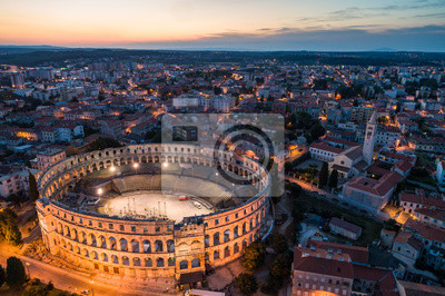 Poster Aerial photo of Roman Colosseum in Pula, Croatia at night