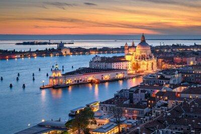 Aerial sunset view of Basilica Santa Maria della Salute in Venice, Italy