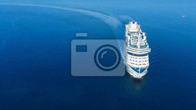Poster Aerial view of beautiful white cruise ship above luxury cruise in the ocean sea  concept tourism travel on holiday take a vacation time on summer.
