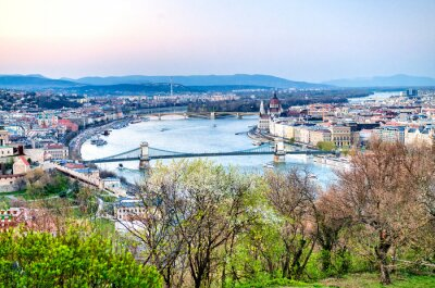 Aerial view of Budapest with Danube and city skyline, Hungary