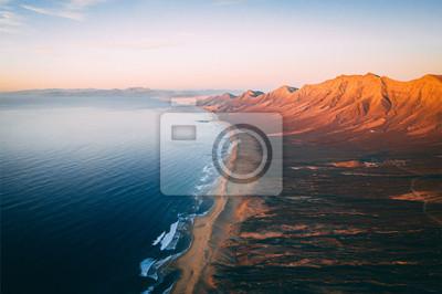 Poster Aerial View Of Cofete Beach Valley In Fuerteventura