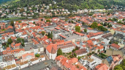 Aerial view of Heidelberg cityscape on a sunny day, Germany
