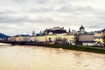 Aerial view of Salzburg, Austria in winter