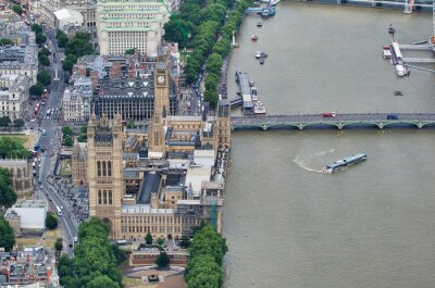 Aerial view of Westminster Palace, Westminster Bridge over River Thames from a high vantage point
