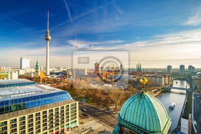 Aerial view on Alexanderplatz and Spree river, Berlin, Germany