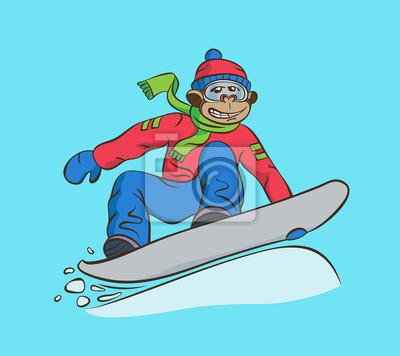 Poster Affe-Snowboarder-Cartoonillustration