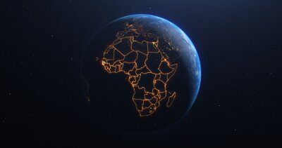 Poster Africa countries outline map from space, globe planet earth from space