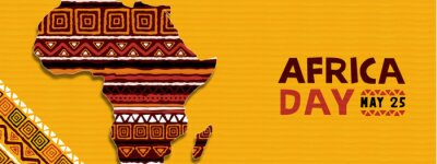 Poster Africa day tribal ethnic art african map banner
