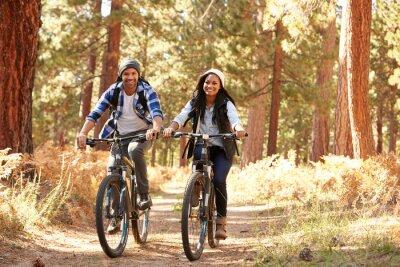 Poster African American Paar Radfahren Durch Fall Woodland