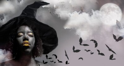 Poster african american woman witch halloween background