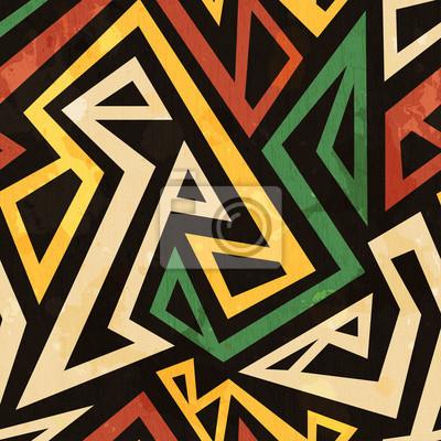 Poster african geometrische nahtlose Muster mit Grunge-Effekt