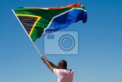 Poster african man waving a south african flag