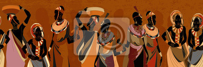 Poster African women silhouettes in national clothes horizontal seamless pattern. Beautiful black females. People of South Africa, vector illustration