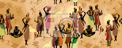 Poster African women silhouettes in national clothes horizontal seamless pattern. Beautiful black females. Tribal art. People of South Africa, vector illustration