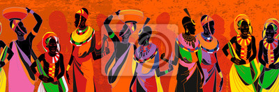 Poster African women silhouettes in national clothes seamless pattern. People of South Africa, vector illustration. Beautiful black females