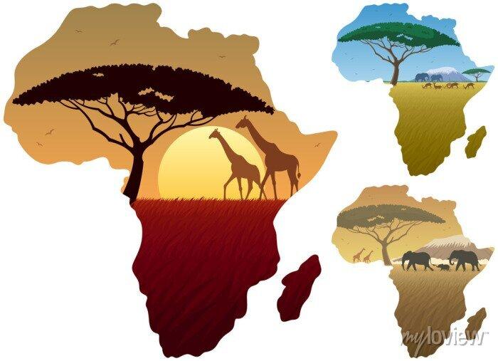 Poster Afrika Karte Landschaften / Drei afrikanische Landschaften in der Karte von Afrika.