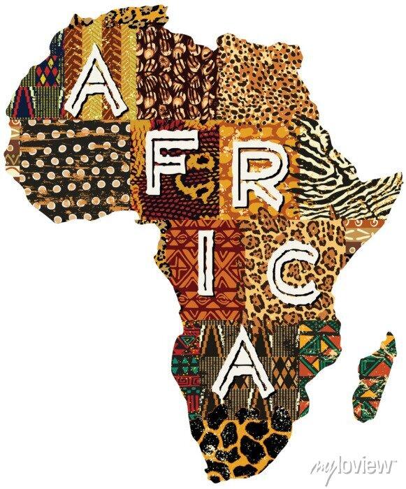 Poster Afrika Patchwork Vektorkarte