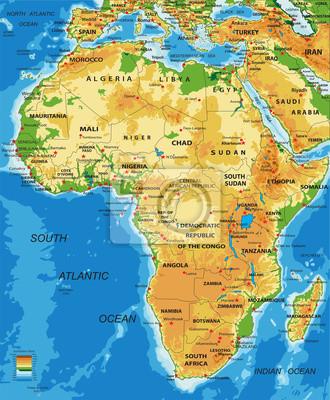 afrika karte physisch Afrika physische karte wandposter • poster Nigeria, rhodesia  afrika karte physisch