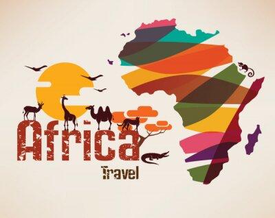 Poster Afrika Reise-Karte, decrative Symbol des Afrika Kontinents mit eth
