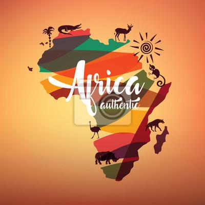 Poster Afrika Reisekarte, dezimatives Symbol von Afrika Kontinent mit wilden Tieren Silhouetten