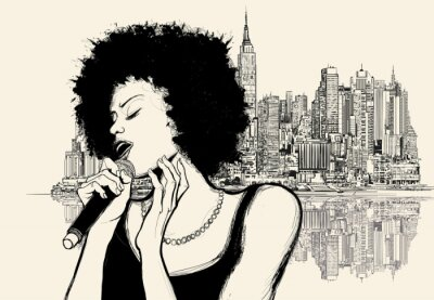 Poster Afro-amerikanische Jazz-Sängerin