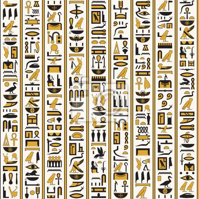 Ägyptische hieroglyphen gelb-schwarze farbe nahtlos wandposter • poster  alte Kunst, Das alte Ägypten, Ägyptologie   myloview.de