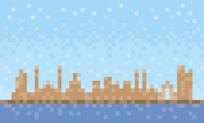 Ajman city skyline, pixel art background