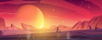 Poster Alien planet landscape, dusk or dawn desert surface with mountains, rocks and sun shining on red and orange starry sky. Space extraterrestrial computer game background, cartoon vector illustration