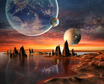 Poster Alien Planet With Earth Moon And Mountains