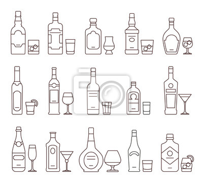 Alkohol Trinken Getränke Umreiß Ikonen Flaschen Und Gläser