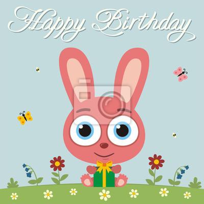 Alles Gute Zum Geburtstag Lustige Hase Kaninchen Mit Geschenk