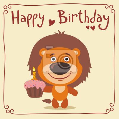 Alles Gute Zum Geburtstag Lustige Lowe Mit Geburtstagstorte