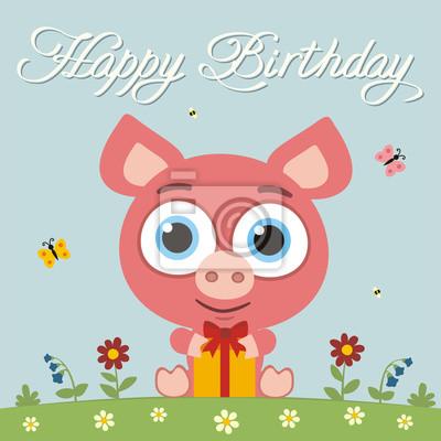 Alles Gute Zum Geburtstag Lustiges Kleines Schwein Mit Geschenk