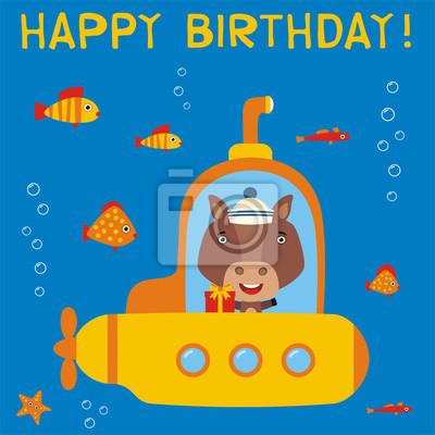 Alles Gute Zum Geburtstag Lustiges Pferd Im U Boot Mit Geschenk