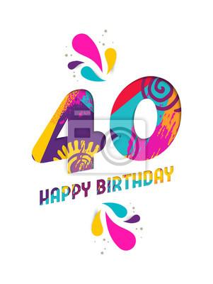 Alles Gute Zum Geburtstag 40 Jahre Papier Schnitt Grusskarte